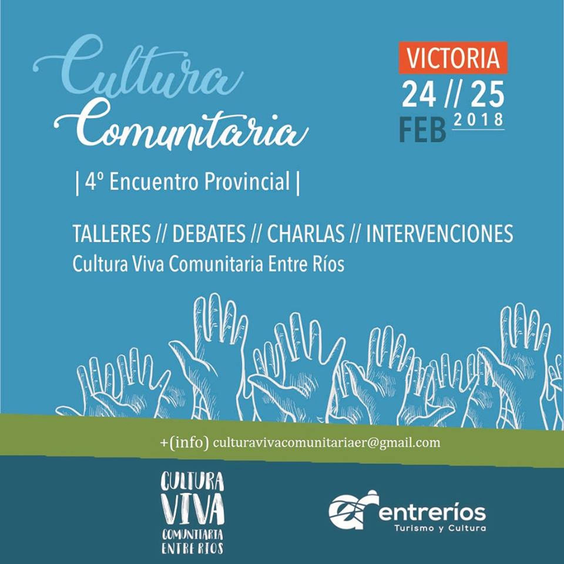.Se realizará el 4° encuentro de Cultura Viva Comunitaria de Entre Ríos en la ciudad de Victoria.