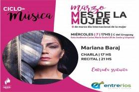 La música, la voz y la experiencia de Mariana Baraj en Concepción del Uruguay