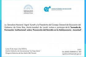 Realizarán en Paraná Jornada sobre Prevención del  Suicidio en la adolescencia y juventud