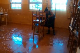 Este martes continúa la desinfección de escuelas
