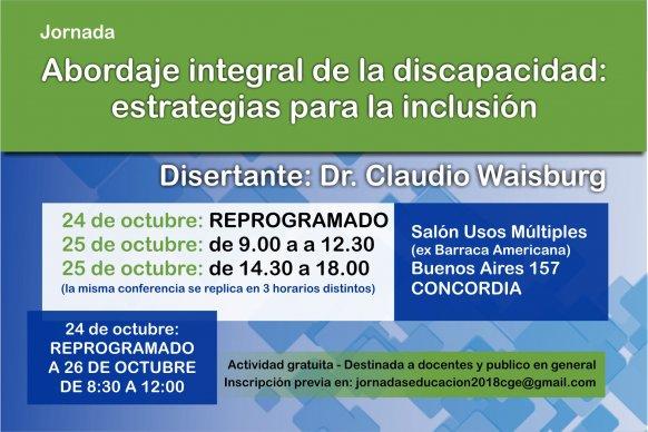 Se realizará en Concordia una conferencia sobre abordaje Integral de la discapacidad