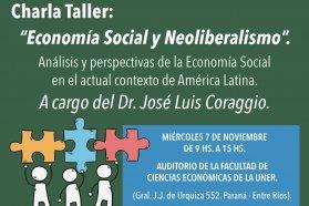 Este miércoles se realizará en Paraná una charla sobre economía social