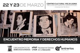 Se realizará el Encuentro Memoria y Derechos Humanos