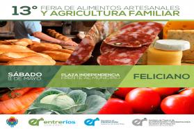 Feliciano será sede de la 13º Feria de Alimentos Artesanales y Agricultura Familiar