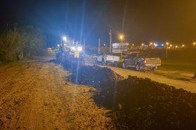 Avanza el enripiado de la avenida principal de Puerto Alvear en el departamento Diamante