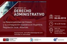 Se realizará este viernes un seminario de Derecho Administrativo