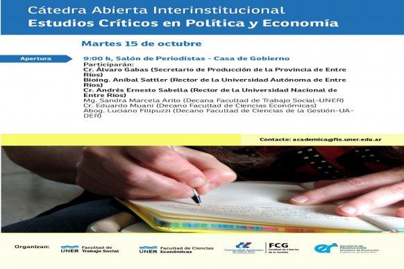Se realizará en Paraná el lanzamiento de la Diplomatura en Estudios Críticos en Política y Economía