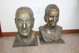 Restauran los bustos de Eva y Juan Domingo Perón del Complejo Escuela Hogar