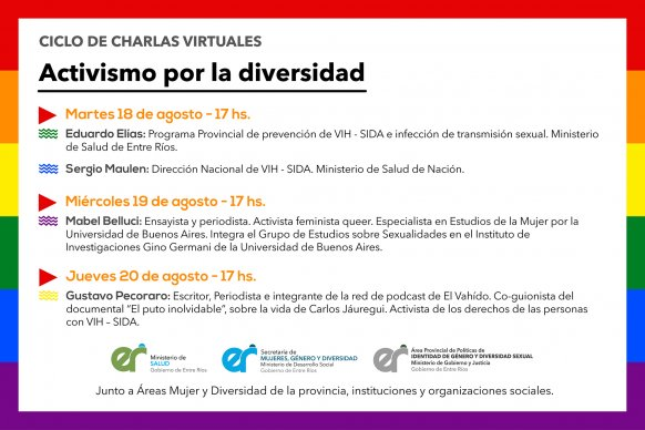 La provincia realizará un ciclo de charlas en el marco del Día del Activismo por la Diversidad Sexual