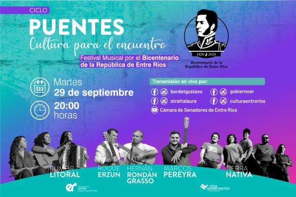 Se realizará un festival musical virtual en homenaje al Bicentenario de la República de Entre Ríos