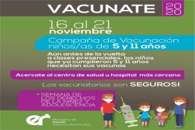 La Semana de los Derechos de la Niñez y la Adolescencia convoca a completar los esquemas de vacunación
