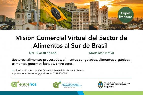 Está abierta la inscripción para participar de la Misión Comercial Virtual del Sector de Alimentos al Sur de Brasil