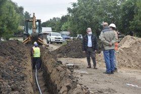 Observaron los trabajos de ampliación de la red de agua potable en Pedernal