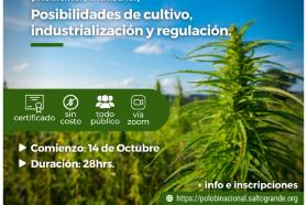 Nuevo curso de Cáñamo medicinal e industrial: cultivo, industrialización y regulaciones