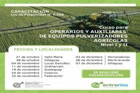 Comienza en octubre la capacitación para Operarios y Auxiliares de Equipos Pulverizadores Agrícolas